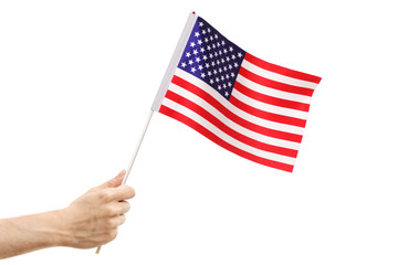 Male hand holding an American flag