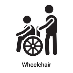 Wheelchair icon vector sign and symbol isolated on white background, Wheelchair logo concept