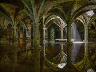 The Portuguese fortress, a canister, an ancient underground water basin in the old town of El Jadida Fortress, Morocco.