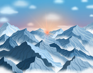 Vector illustration of mountain landscape with sunrise or sunset. Blue winter cliffs with fog and clouds
