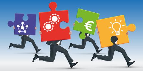 projet - solution - puzzle - équipe - partenariat - entreprise - concept - conception - performance