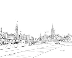 Ottawa. Canada. Hand drawn. Unusual Street sketch, vector illustration