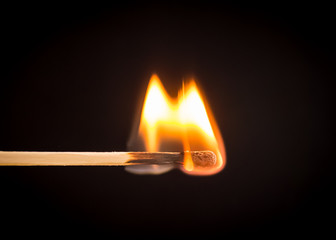 Photo of burning matchstick.