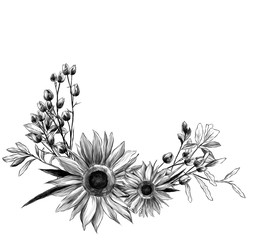 wreath in the form of a bouquet of two sunflower leaves and dry grass, sketch vector graphics monochrome illustration