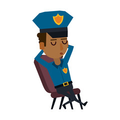 Police office sleeping in chair vector illustration graphic design