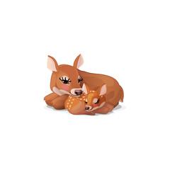 vector red deer family. Doe mom &  sleeping little bambi fawn