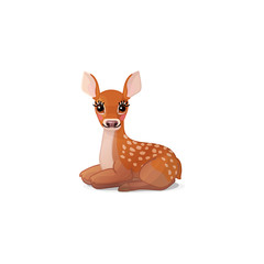vector spotty fawn, baby red deer, young little bambi 02