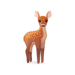 vector spotty fawn, baby red deer, young little bambi 03