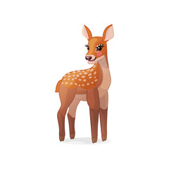 vector spotty fawn, baby red deer, young little bambi 08