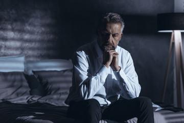 Stressed man in depression