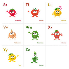 Illustration of fruit and vegetables alphabetical cards with funny mascots order from s to z, isolated on light background. Learning alphabets can be fun now.