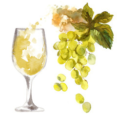 A glass of white wine and a bunch of green grapes on a white bac