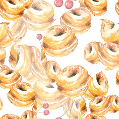 Seamless watercolor pattern background with a picture of donuts, sweets. Baking, cake, sweets, berry cherry. For textiles, paper, packaging and other. Art Background. Vintage drawing, hand graphics.
