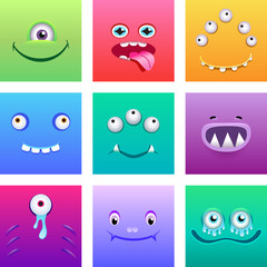 Cartoon monsters faces with emotions vector set