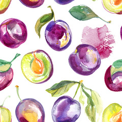 Pattern of the watercolors of fruit on a white background
