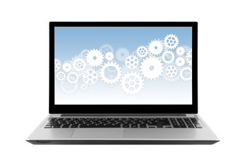 Gears on laptop screen isolated on white with clipping path