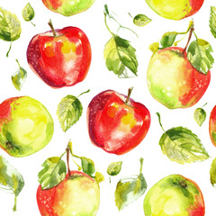 Pattern apples painted with watercolors on white paper