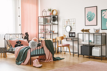 Pink and green feminish bedroom