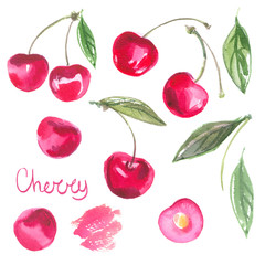 Set cherries watercolors on white background