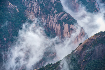 Landmarks of Yellow Mountain or Huangshan mountain Cloud Sea Scenery , East China, Anhui Province.