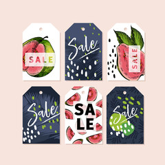 Vector set of tag badges. Summer sale. Tropical trendy theme. Palm leaves, hand drawn guava. Business promotion, discount banner, offer flyer, online shopping, advertisting coupon, newsletter.