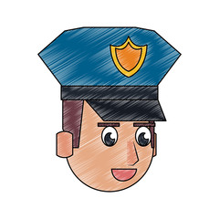 Cute police officer cartoon vector illustration graphic design