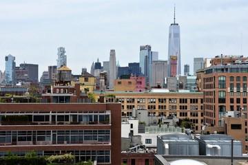 Fototapeta Kolorowa panorama Manhattanu w Nowym Jorku  obraz