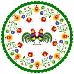 Polski folklor - okrągły wzór z kogutami i kwiatami