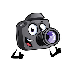 Happy cartoon camera mascot is smiling and with thumbs up.