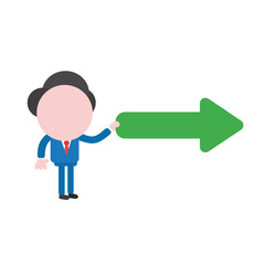Vector businessman character holding arrow pointing right