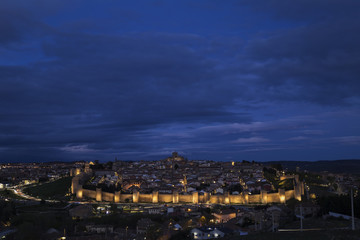 night views of the city of Ávila in Spain, medieval walled city perfectly preserved