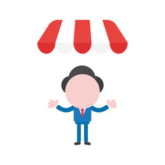 Vector businessman character under shop store awning