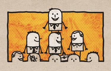Cartoon Business Team and Leadership
