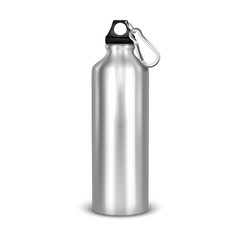 Vector realistic 3d empty glossy metal water bottle with black bung closeup isolated on white background. Design template of packaging mockup for graphics. Front view