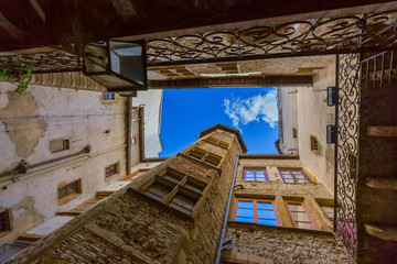 Old medieval courtyard Traboules in Lyon France