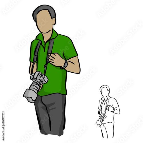 male photographer holding dslr camra vector illustration sketch