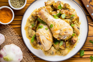 Chicken legs in creamy mushroom sauce, delicious dinner