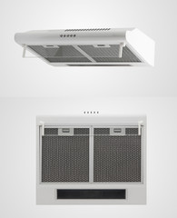 kitchen hood in two angles on a white background. kitchen appliances. Isolated
