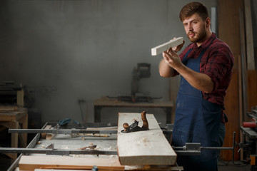 Portrait Master carpenter in shirt and apron strokes  plane in workshop