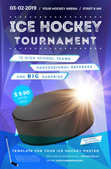 Ice hockey tournament poster template with sample text