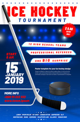 Ice hockey tournament poster template with stick and puck