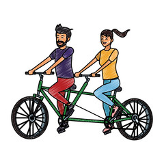 Couple riding in double bike vector illustration graphic design