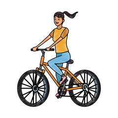 Woman with bicycle vector illustration graphic design