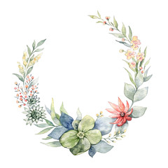 Hand drawn bright colorful watercolor flower wreath