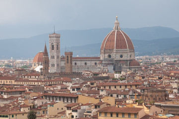 Panoramic image of city of Florence with Duomo  (Italy)