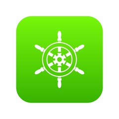 Wheel of ship icon digital green for any design isolated on white vector illustration