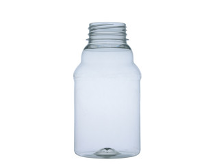 empty plastic bottle on white background
