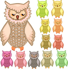 Set of twelve colourful vector owls isolated on white background