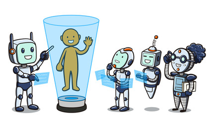 Illustration of the concept of machine learning, depicting one android teaching a group of robots about the human body.