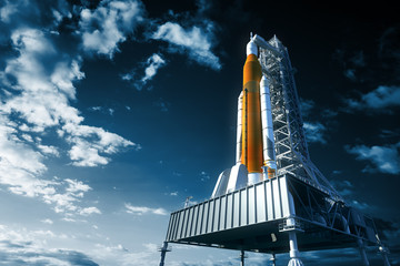 Space Launch System On Launchpad Over Background Of Sky